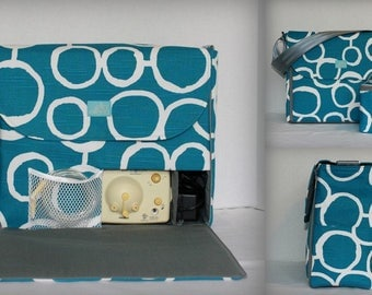 Alana style Breast Pump Bag in Teal White Circles print