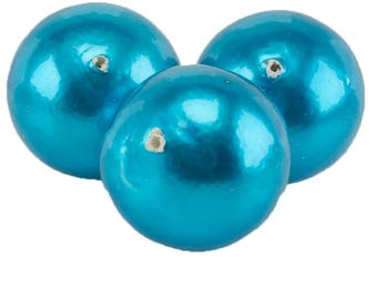 24mm Papermached  bead in vivid turquoise blue 1Pcs (PmA010_24mm_G369)