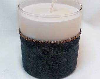 SALE - Glass Candle - Soy Wax - Glitter Diamante BLACK