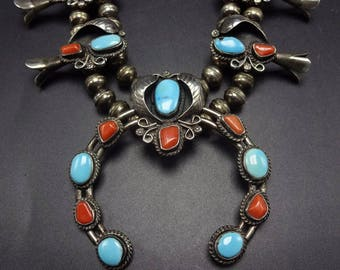 Vintage NAVAJO Sterling Silver Coral & Turquoise SQUASH BLOSSOM Necklace