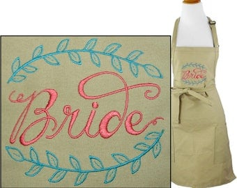 Bride & Vines Rustic Monogram Apron Wedding Bridal Shower Gift + Free Name Custom Embroidered