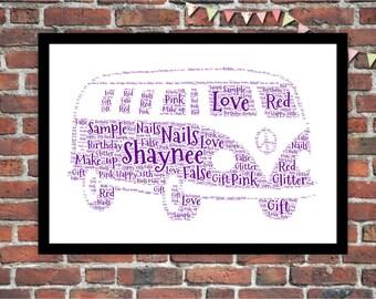 Personalised Word Art Gift Framed VW Volkswagon Campervan Wedding Anniversary  Engagement Birthday Son Daughter Auntie Sister