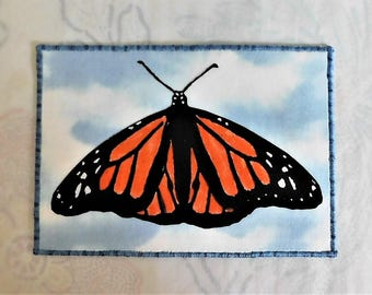 Monarch Butterfly Fabric Postcard