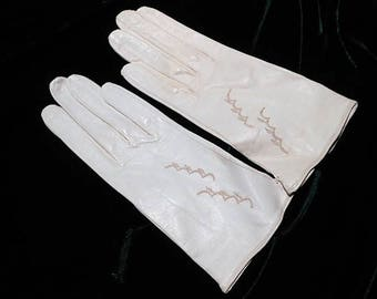 Vintage Cream German Kidskin Gloves, Size 6 1/4, c. 1960