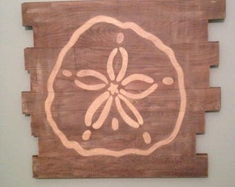 Sand Dollar Wall Decor, Sand Dollar on Reclaimed Hardwood Flooring, Handpainted Sand Dollar Wall Hanging