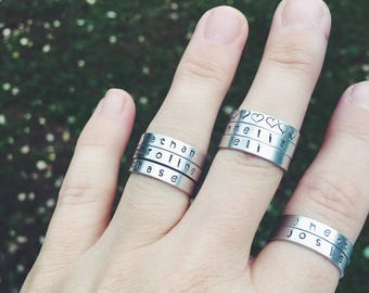 Personalized Stacking Rings, adjustable rings, aluminum ring, silver ring, custom ring, name ring