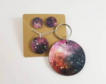Glitter Galaxy Full Set <More Options Available> <Necklace, Earrings and Keychain> <Ships in 1-3 Business Days> <Read Full Description>