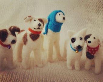 Needle felted dog portrait miniature