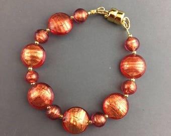 Venetian Glass Bracelet - Venetian Murano Jewelry - Orange Jewelry - Jewelry Gift - Magnetic clasp bracelet - Holiday Jewelry - Apricot