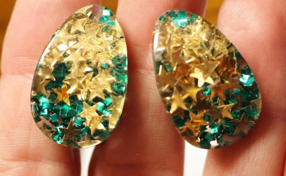 Vintage Green & Gold Confetti Stars Glitter Lucite Clip on Earrings