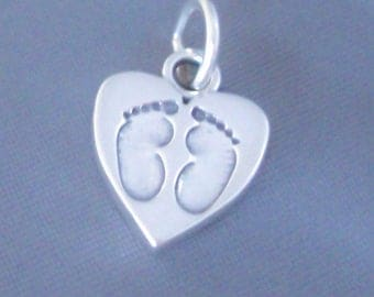 1 Sterling Silver Baby Charm, Baby Foot Prints, Heart Charm, Made in USA