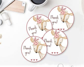 Party Favor Tags, Woodland Birthday Party Cupake Toppers, Printable Stickers Woodland Deer Thank you tags, DIY Card,  DIGITAL FILES BS20