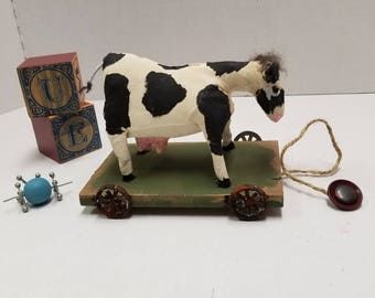 Black and White Cow Pull Toy, Dairy Cow Toy,  Cow on Wheels,Shelf Decor, Farm Animal, Doll Accessory, Holstein Cow Mini Toy
