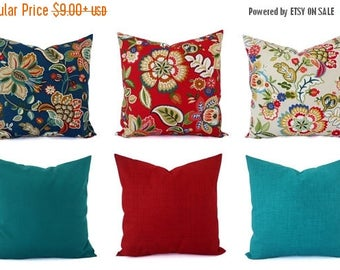 15% OFF SALE Outdoor Throw Pillow Cover - Floral Pillow Sham - Red Throw Pillow - Teal Pillow Cover - Solid Throw Pillow - Red Pillows - Blu