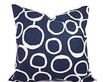15% OFF SALE Navy Blue Pillow Covers - Two Navy and White Throw Pillow Covers - Navy Couch Pillow - Navy Accent Pillows - Decorative Pillow