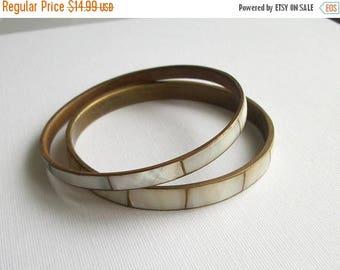 ON SALE Vintage Bracelet Shell Inlay Bangle Bracelet Set of Two Bronze Toned Jewelry Bangle Bracelet Natural Shell Inlay Brown Bracelet