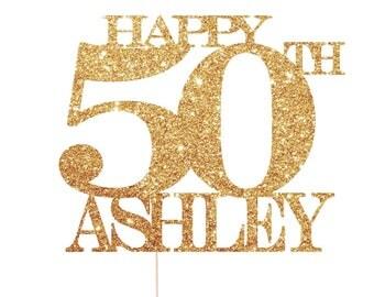 50th Cake Topper, 50th Birthday Cake Topper, Happy 50th Birthday, Fifty Cake Topper, Fifty Birthday Cake Topper
