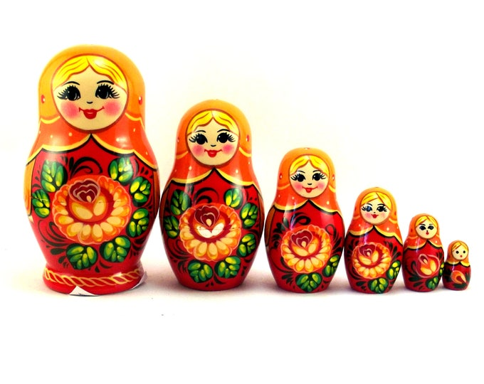 Nesting Dolls 6 pcs Russian matryoshka Babushka doll for kids set Wooden stacking authentic genuine toys Birthday gift for mom Red Flower