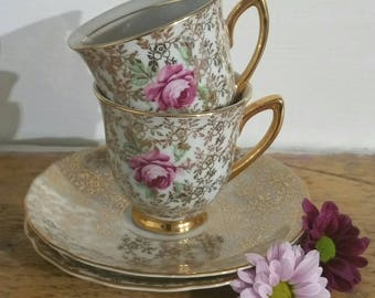 Vintage demitasse coffee cup and saucer espresso cup set 1930s.
