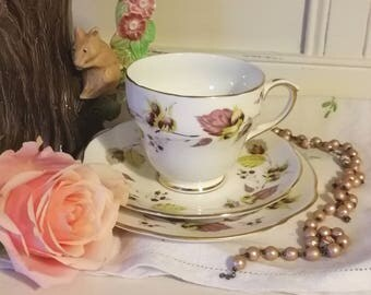 Vintage Duchess Tea cup and saucer and tea plate, lovely pink leaves, teacup trio, vintage China.