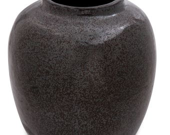 Black Metallic Glazed Earthenware Vessel, Excellent Condition