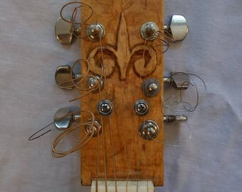 """Super Cool Woodsy """"Box With Strings"""" Square Blues Guitar w/ Fleur de lis Headstock"""
