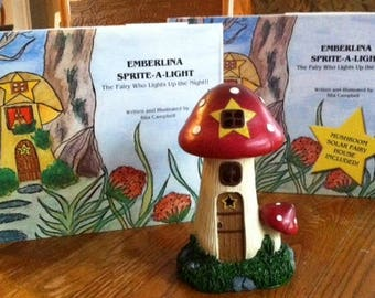 Emberlina Sprite-a-Light, The Fairy Who Lights Up the Night, Children's book and solar mushroom fairy house