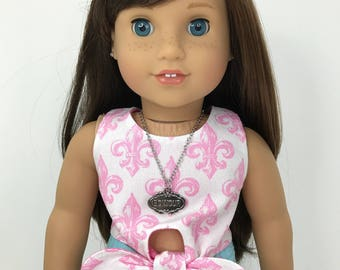 18 inch doll clothes- Doll size necklace with a Pendant that says Bonjour.
