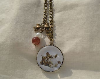 Necklace cabochon Brown kitten