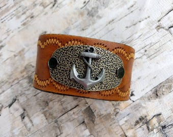 Anchor Cuff, Leather Cuff Bracelet, Upcycled Belt, Repurposed, Honey Brown Leather, Top-Stitched Scallops, LookSomethingShiny