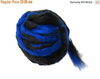 SALE Pulled Mulberry butter Silk Roving, Royal blue/ black