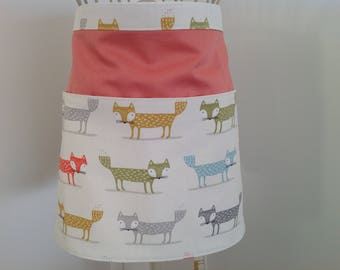 Beautiful Half Apron, Vendors Apron, Craft Apron, Teachers Apron with extra long straps, Fox