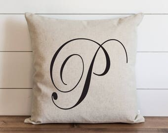 Scroll Monogram 20 x 20 Pillow Cover // Everyday // Wedding  // Typography // Housewarming // Anniversary // Initial // Gift // Accent