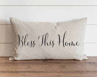 Bless This Home 16 x 26 Pillow Cover // Everyday // Throw Pillow // Gift // Accent // Faith // Housewarming // Wedding Gift // Gift For Them