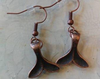 Bronze whale tale earrings