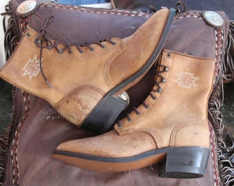 Vintage Awesome Lace Up Boots, Granny Boots