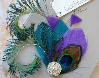 Purple Teal  Peacock  Feather  Hair Clip,Feather Fascinator,  Peacock  hair clip, Prom Headpiece, Wedding  hair piece ,  Wedding Headpiece