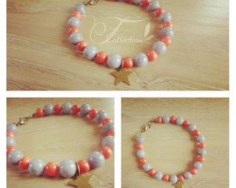 Starry grey magnesite beads and coral Beads Bracelet