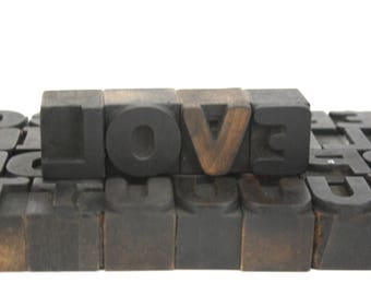 Old Wood Letterpress Printing Type / Vintage Rustic Wooden Alphabet / Pick Your Letters