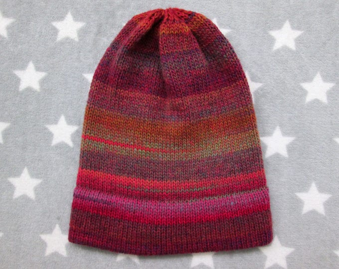 Knit Hat - Rusty Pink & Purple - Slouchy Beanie