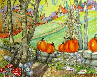 A Walk Through Autumn Storybook Cottage Series original whimsical watercolor painting