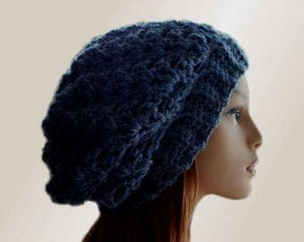 Blue Slouchy Beanie Hat Chunky Medium Darkish Blue Slouchie Beany Wool Medium to Dark Silvery Blue Slouch Hat Winter Womens Hat Gift for Her