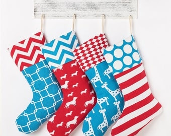 Customized Personalized Burlap Christmas Stockings - Family Name Stocking