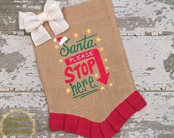 Christmas Garden Flag, Santa Flag, Santa Stop Here Flag, Outdoor Christmas Decor, Christmas Flag, Holiday Flag, Holiday Decor, Burlap Flag