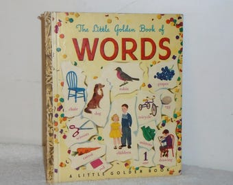 """The Little Golden Book of Words 25c #45 1948 """"C"""" Ed by Simon & Schuster"""