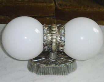 Vintage Virden Lighting Hollywood Regency Gothic 2 Arm Orb Wall Sconce Light fixture