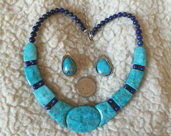 Jay King Reversible Turquoise Lapis Sterling Silver Necklace and Earring Set