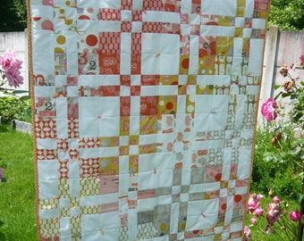 "Patchwork ""Summer orange"" quilt cover"