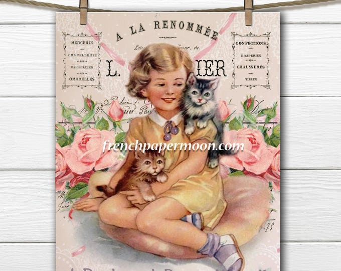 Vintage Digital Cat, Girl and Cat, Shabby Victorian, French Pillow Image, Transfer Graphic, Large Image