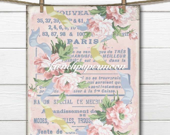 Vintage French Floral Wallpaper Printable, Instant Download Fabric Transfer, Scrapbooking, French Pillow Image